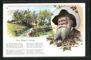 AK Jagdhumor, Des Jägers Klage, Jäger mit Frau auf euner Bank sitzend, Bildnis eines älteren Jägers