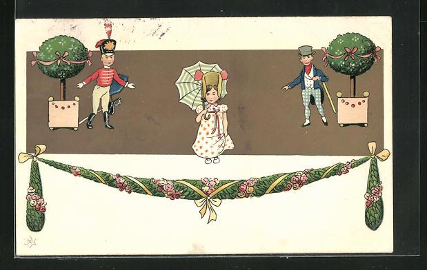 AK Biedermeier, junge Dame mit zwei Herren im Park