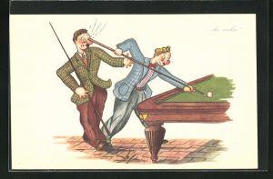 AK Tollpatschiger Mann beim Billardspiel