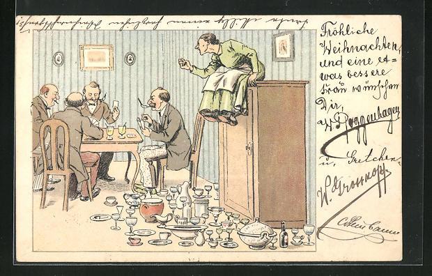 AK frauenfeindlicher Humor, Zeterndes Eheweib auf dem Schrank sitzend, Herren bei Kartenspiel