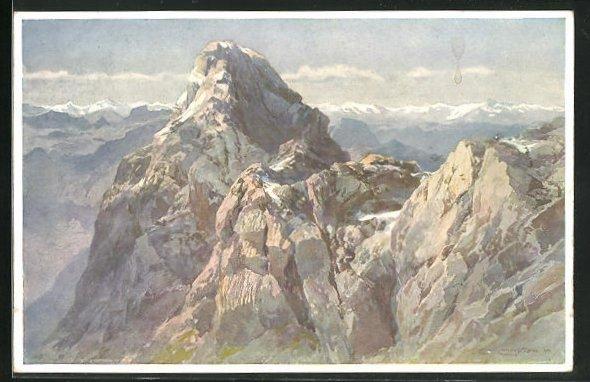 Künstler-AK Edward Theodore Compton: Die Mittelspitze des Watzmanns