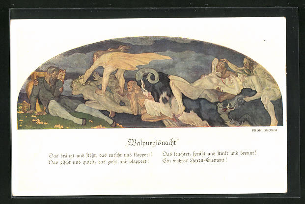 Künstler-AK Walter Georgi: Walpurgisnacht, Gemälde in Auerbachs Keller, Leipzig