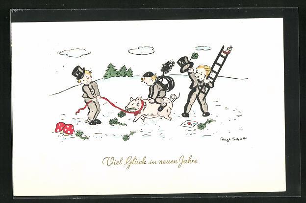 Künstler-AK Inge Schott: Schornsteinfeger mit Schwein im Schnee, Neujahrsgruss
