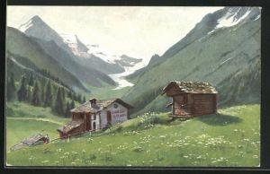 Künstler-AK August Splitgerber: Werbung für Chocolat Cailler an einer Berghütte