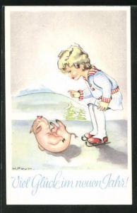 Künstler-AK Hilla Peyk: Kleines Mädchen spielt mit Schweinchen, Neujahrsgruss