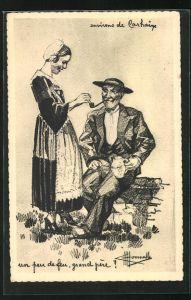 Künstler-AK Charles Homualk: Types et Costumes de France, Pfeife rauchender Mann mit Frau