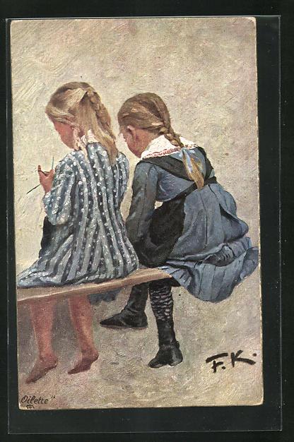 Künstler-AK Friedrich Kallmorgen: Zwei Freundinnen, Mädchen auf einer Bank sitzend