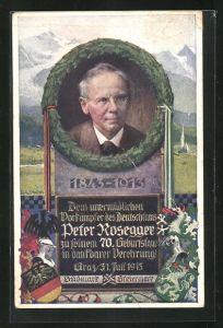 Künstler-AK Richard Assmann: Porträt Peter Rossegger im Kranz zum 70. Geburtstag, Wappen