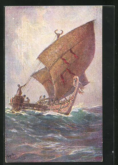 Künstler-AK Hans Bohrdt: Das letzte Boot vn der Insel Agomes, Südsee