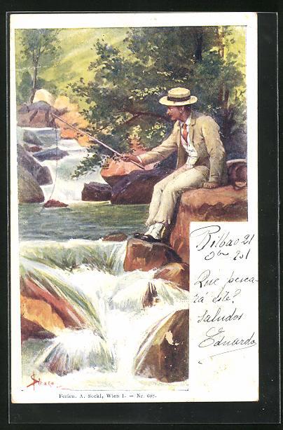 Künstler-AK Josef Straka: Mann mit Hut angelt am kleinen Wasserfall
