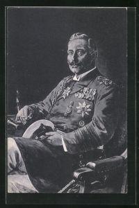 Künstler-AK Willy Stoewer: Kaiser Wilhelm II. in Uniform und mit Zigarette