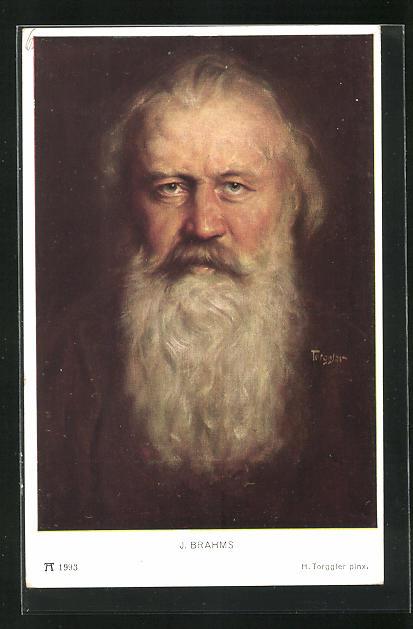 Künstler-AK Hermann Torggler: Porträt von Johannes Brahms