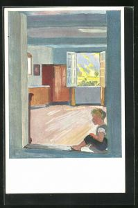 Künstler-AK Albert Welti: Der Bub in der Türe