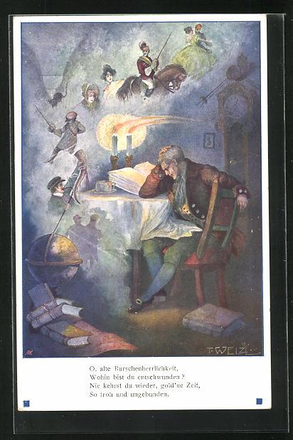 Künstler-AK T. Welzl: Älterer Herr am Tisch sitzend denkt an alte Zeiten In der Burschenschaft