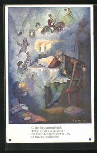 Künstler-AK T. Welzl: Mann sitzt am Tisch und träumt von altem Zeiten, O, alte Burschenherrlichkeit
