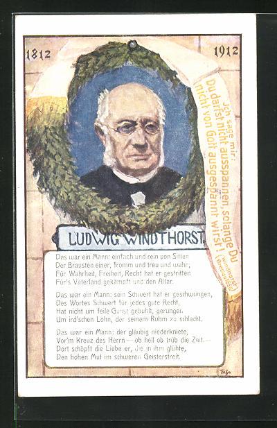 AK Portrait Politiker Ludwig Windthorst mit Brille, 1812-1912