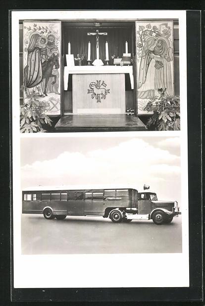 AK Altar mit Kerzen, Missionswagen der Ostpriesterhilfe