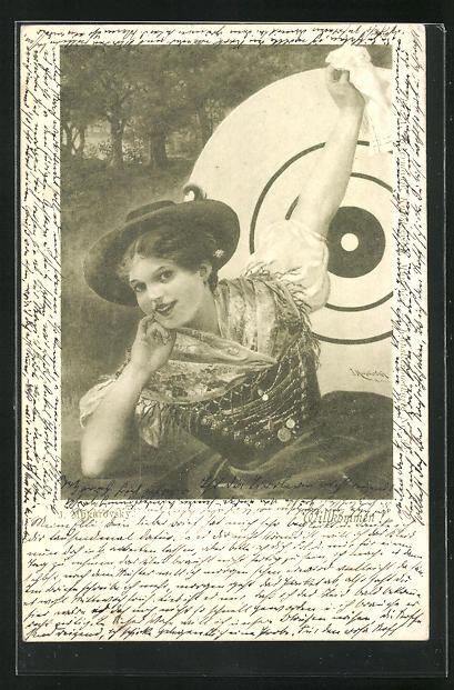 AK Junge Dame mit Hut vor einer Zielscheibe, Schützenverein