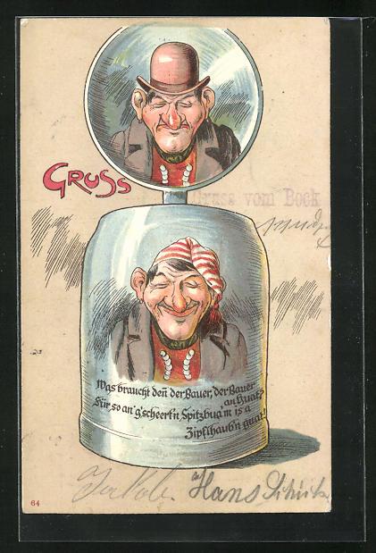 AK Bauer mit Hut und Zipfelmütze auf einem Bierkrug