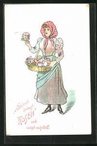 AK Rosenverkäuferin mit Kopftuch, Geduld bringt Rosen..