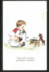 Künstler-AK Willi Scheuermann: Kann nicht kommen, geschäftlich verhindert!, Scherz, Kind telefoniert auf Nachttopf