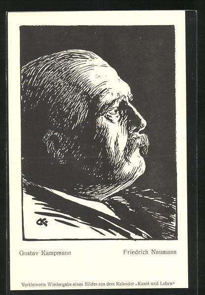 Künstler-AK Gustav Kampmann: Friedrich Naumann, Theologe und Politiker