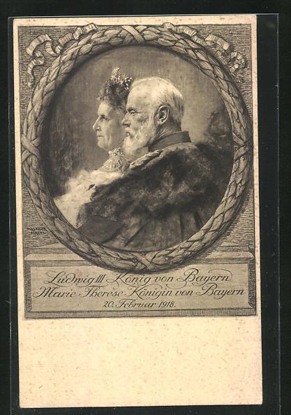 Künstler-AK Walther Firle: König Ludwig III. und Marie Therese, 1918