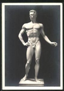 Künstler-AK Arno Breker: Der Wager, Figur, männlicher Akt