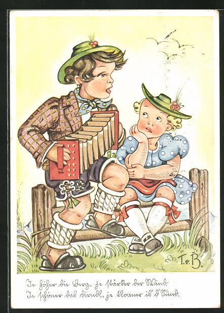 Künstler-AK Tilly von Baumgarten: Je höher die Lerch, je stärker der Wind...., Kinder mit Ziehharmonika