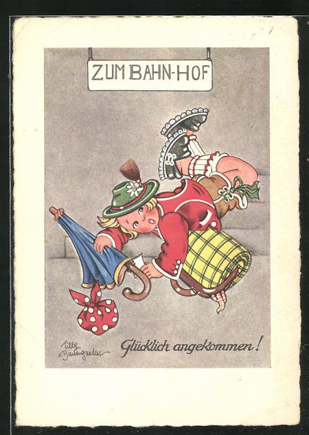 Künstler-AK Tilly von Baumgarten: Glücklich angekommen!, Scherz, Tollpatsch
