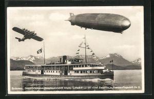 AK Bodensee, Doppelschrauben-Dieselmotorschiff Allgäu m. , Luftschiff Graf Zeppelin u. Dornier-Flugschiff