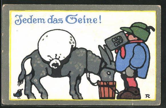 AK Brauerei-Werbung, Jedem das Seine, Esel aus Eimer trinkend und Mann mit Krug
