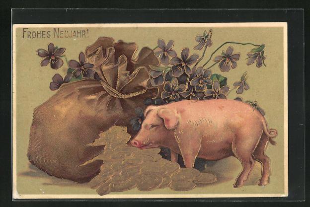 Präge-AK Glücksschwein mit Geldsack und Münzen, Neujahrsgruss