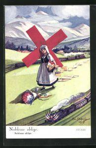 Künstler-AK Em. Dupuis: Noblesse oblige, Schweizerin trägt ein Rotes Kreuz, französischer Blumenstrauss