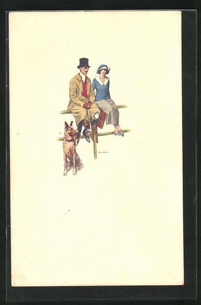 Künstler-AK Bianchi: Auf einem Zaun sitzendes Paar mit Schäferhund
