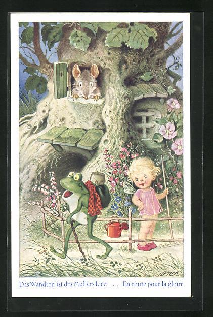 Künstler-AK Fritz Baumgarten: Maus und Elfe wuindern sich über einen Frosch auf Wanderschaft