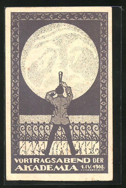 AK Vortragsabend der Akademia 1.4.1908, Student blickt mit Fernrohr zum Mond