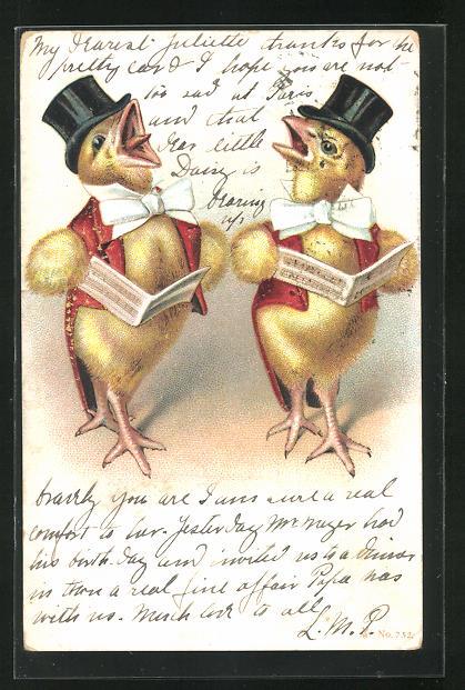 Lithographie Singende Osterküken mit Zylinderhüten