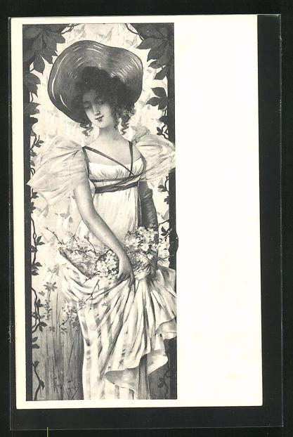 Künstler-AK Mary Golay: Maid mit Hut mit Blüten