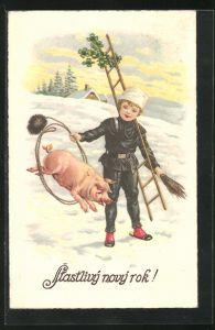 AK Stastlivy novy rok!, kleiner Schornsteinfeger mit Schwein