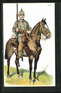 Künstler-AK P. O. Engelhard (P.O.E.): Lanzier zu Pferd