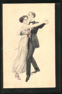Künstler-AK Simplicissimus: tanzendes Paar