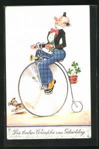Künstler-AK John Wills: Wünsche zum Geburtstag, Clown auf Hochrad