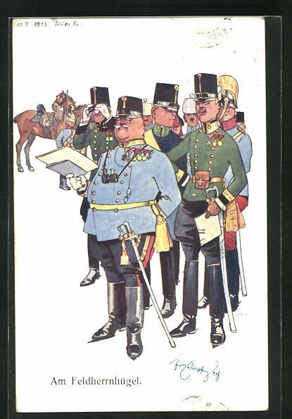 Künstler-AK Fritz Schönpflug: Am Feldherrnhügel, k.u.k. General mit Stab