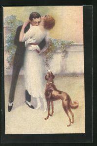 Künstler-AK C. Monestier: Kuss, elegantes Paar in Abendgarderobe und Hund