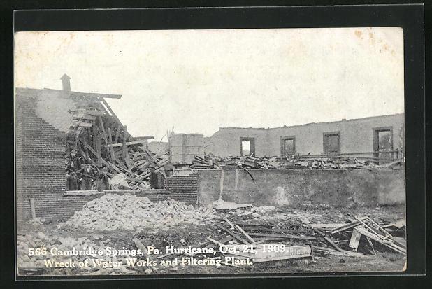 AK Cambridge Springs, PA, Hurricane Oct. 1909, Ruine des Wasserwerks nach dem Sturm