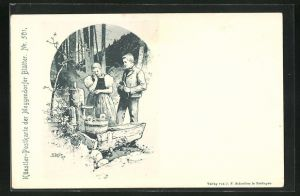 Künstler-AK Fritz Reiss: Meggendorfer Blätter Nr. 501, Paar an Quelle