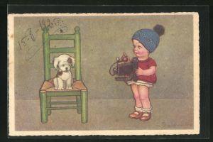 Künstler-AK E. Colombo: Mädchen mit Kamera und Hund, Fotoapparat