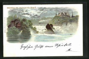 Lithographie Rheinfall, Suchbild Wo erscheint die Nixe?