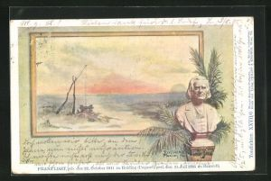 Künstler-AK Philipp + Kramer Nr. XXVII /6: Büste des Komponisten Franz Liszt, Landschaftsmotiv